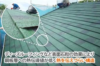 ディーズルーフィングなど表面石粒の効果により鋼板層への熱伝導値が低く熱を伝えづらい構造