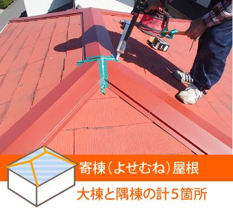 寄棟屋根の棟は大棟と隅棟の計5箇所