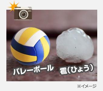 バレーボールと同じ大きさの雹
