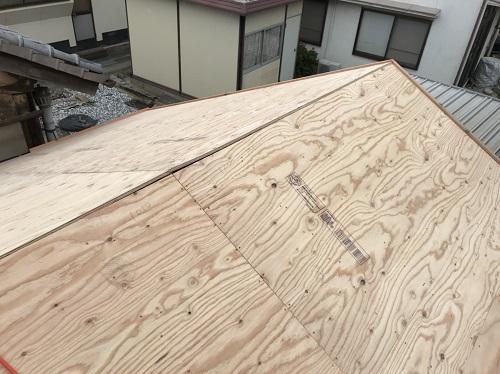 内海町雨漏り修理野地板補修