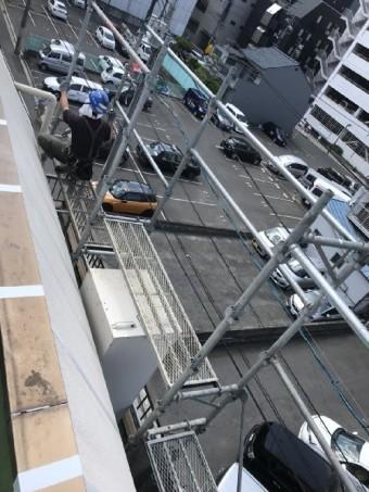 外壁コーキング補修工事足場写真