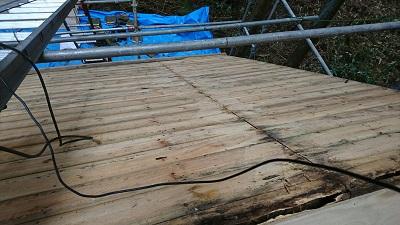 屋根葺き替え工事下地部分