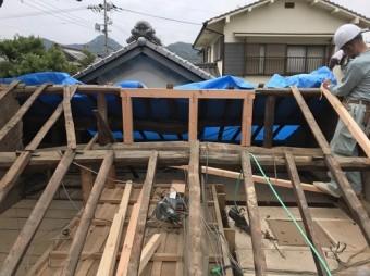 内海町雨漏り修理棟木補修②