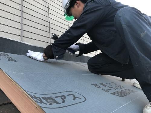 福山市明王台増築屋根防水紙設置写真