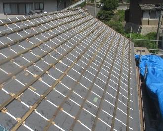 屋根葺き替え工事桟木終了写真