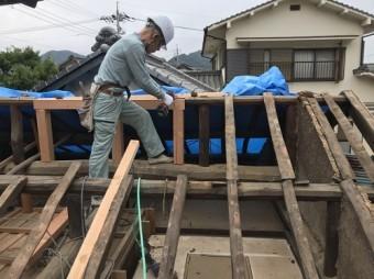内海町雨漏り修理棟木補修①