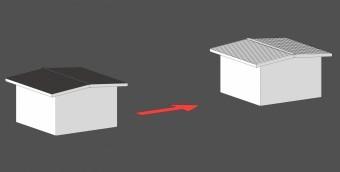 勾配を変えずに屋根葺材を変える