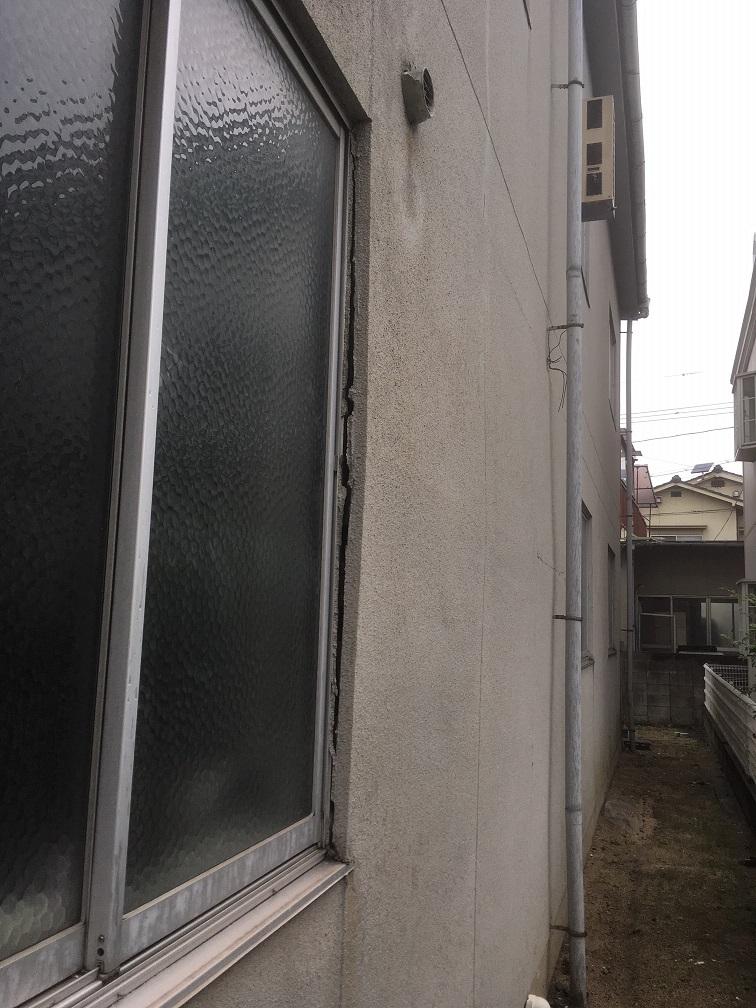 外壁モルタル クラック大