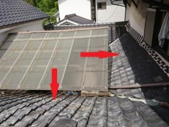 雨漏りしている屋根