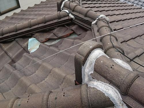 雨漏り原因の棟の様子