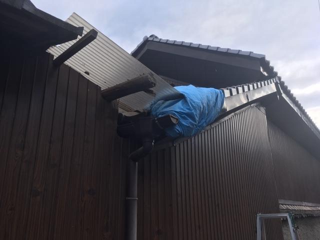 福山市高西町にて住宅の破風板金の破損について調査しました