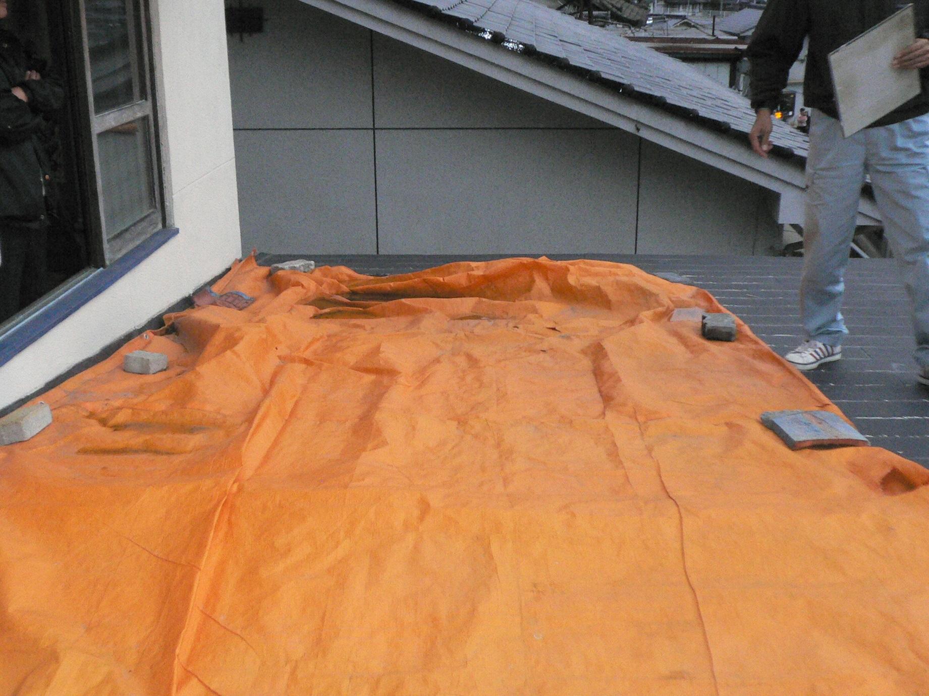屋根 現地調査の様子
