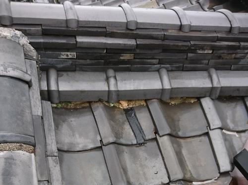尾道市古浜町で古い日本家屋の瓦屋根の雨漏り調査をおこないました