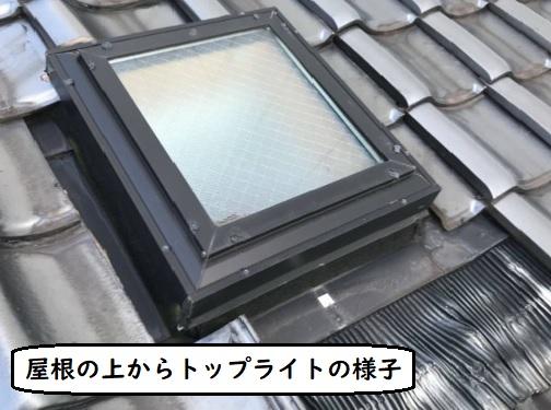 屋根の上からトップライトの様子