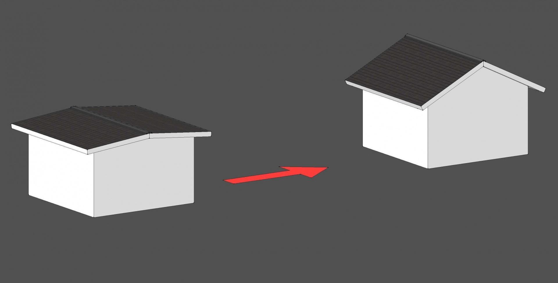 屋根葺材を変えず勾配を変える